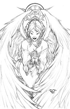 Pure Hearth by pant.deviantart.com on @deviantART   *   Angel Fantasy Myth Mythical Mystical Legend Wings Feathers Faith Valkyrie Odin God Norse Death Dark Light Coloring pages colouring adult detailed advanced printable Kleuren voor volwassenen coloriage pour adulte anti-stress kleurplaat voor volwassenen Line Art Black and White