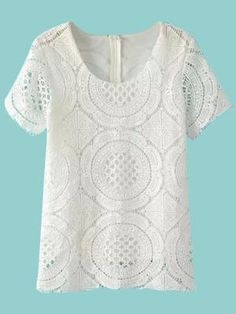 Shop White Hollow Lace T-shirt from choies.com .Free shipping Worldwide.