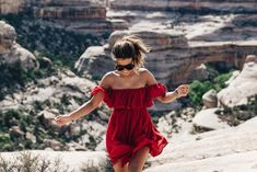 Gooseneck_State_Park-Glen_Canyon-Natural_Bridges-Utah-Chicwish-Off_The_Shoulders_Dress-Red-Converse-Collage_Vintage-Road_Trip-78