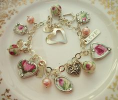 Broken China with Sterling Silver Charm by KellyCoCreativeArts, $88.00