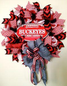 OSU Wreath Ohio State Wreath Buckeyes Wreath Ohio by WreathyWoman