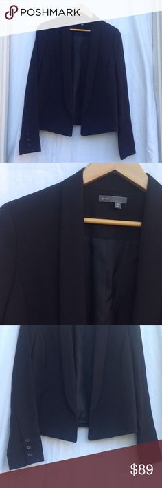 Vince Cropped Tuxedo Blazer The cropped tuxedo Blazer from Vince. Shawl collar, black stretch wool. Size 8. Gently used. Vince Jackets & Coats Blazers
