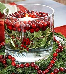 Floating Candle In Cranberries and Mistletoe for Christmas