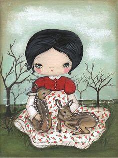 Snow White Print---Deer Friends 5 x 7