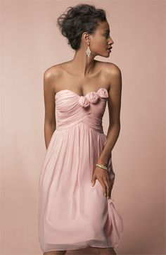 Bridesmaid - Donna Morgan Rossette Trim Strapless Chiffon Dress - I love this Ao Dai, Pretty Dresses, Beautiful Dresses, Cute Bridesmaid Dresses, Bridesmaids, Bridal Gowns, Wedding Gowns, Strapless Dress Formal, Formal Dresses