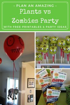 Plan an amazing Plants Vs. Zombies Party with these food & decor ideas + tons of free DIY instructions and printables for decor, food, party bags and activities!