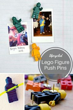 Upcycled Lego Figure push pins. Not only do they look fun, but have ...