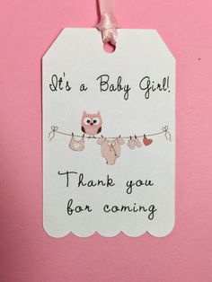 Announcing Its a Baby Boy or Its a Baby Girl on your favor tags for you upcoming baby shower will be fun with these darling thank you tags. Set of 12 or set of 24 - see options. The graphics and the sentiment is printed on our printer. Tag approx dimensions: 2.00 x 3.25 The tags are slightly larger than some of my other baby tags listed in my shop. Set of 12 or set of 24 - see options See choices of straight edged ribbon or tan twine - 12 each tag Each tag has ribbon or twine attached Comes…