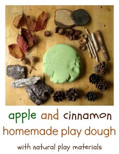 A lovely autumn play idea – homemade apple and cinnamon play dough with some added extras.