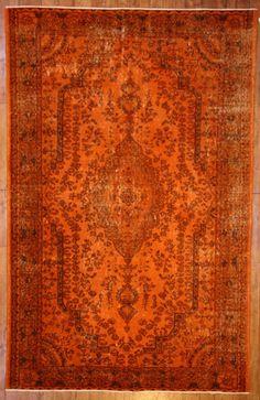 Burnt Orange Overdyed Rug by bazaarbayar on Etsy