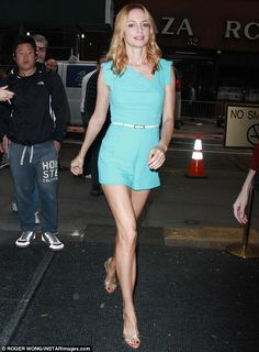 Romper Heather Graham looks pretty as she talks Harvey Weinstein Still incredible: The star wore a blue romper and gold heels for her appearanc. Hollywood Fashion, Hollywood Actresses, Austin Powers Girls, Aquarius, Eliza Dushku, Heather Graham, Ladies Gents, Harvey Weinstein, Michelle Rodriguez