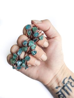 Beautifully made and unique. I mix and match mine with the raw opal rings from the same maker. Rough apatite ring | Blue apatite raw stone ring