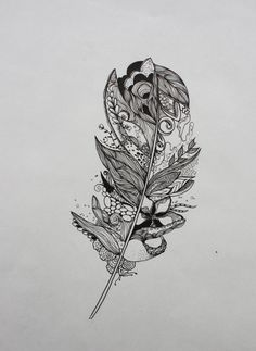 Original India Ink drawing or tattoo design, Whimsical Abstract Feather, Customizable