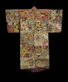 Noh costume robe (atsuita) for male role with alternating blocks of color and design (dangawari) including diamonds, squares, floral medallions and dragon roundels in violet, blue, brown, red, white, green, yellow and pink silk and gilt paper supplementary weft patterning. There is a purple, plain-weave silklining.