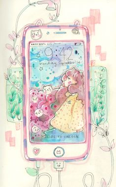 Bee And PuppyCat Phone! WAtercolours are beAutifuL! AAEeeIi!!