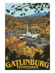 Town Scene - Gatlinburg, Tennessee by Lantern Press