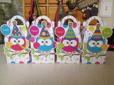 Birthday Owl Gable Favor Boxes Set of 12 by zbrown5 on Etsy, $15.60