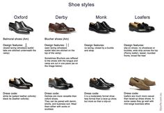 Table demonstrating difference between shoe styles:oxford shoes, Balmoral…