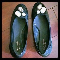 Kate Spade diamond toed flats Black leather Kate Spade flats, three gems on the toes, elastic cinch on the shoes, worn once kate spade Shoes Flats & Loafers