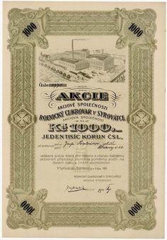 SIXBID.COM - Rolnický akciový cukrovar v Syrovátce, akcie na 1000 Kč, Syrovátka u Dobřenic 7. 10. 1923 Stocks And Bonds, Coins, Auction, Sugar, Paper Envelopes