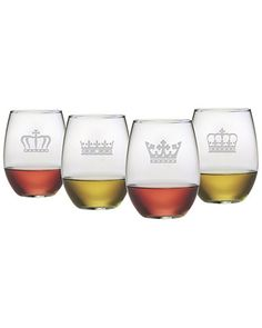 """Some of you have to get in on this: """"Crowns"""" Set of 4 Stemless Glasses Stemless Wine Glasses, Crowns, Interiors, Tableware, Dinnerware, Tablewares, Decoration Home, Decor, Dishes"""