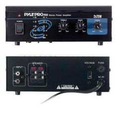 Pyle - Mini 2x75W Stereo Power Amplifier - PCA3 & with Mini Tool Box (cog) by Pyle. $214.99. This mini stereo power amplifier provides up to 75 W of power on each channel at 4 ohms. Connect your inputs using the RCA jacks. Outputs over standard speaker push jacks. It's compatible with any audio or computer device - you can even hook up an iPod using a 3.5mm to RCA jack converter. Treble, bass, and volume controls on the front let you tweak your sound to exactly how yo...