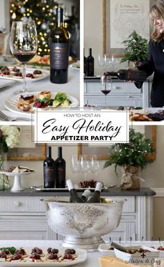Looking for an elegant and easy way to entertain this holiday season? This holiday wine and appetizer party looks super chic and it can be thrown together in under a couple of hours!--->#maisondecinq holidayentertaining holidayparty wineandcheese wineandappetizers appetizerparty appetizers christmasparty christmasentertaining wine ChalkHillwines