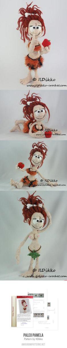 Paleo Pamela amigurumi pattern by IlDikko Crochet Animal Amigurumi, Amigurumi Patterns, Amigurumi Doll, Crochet Animals, Crochet Food, Knit Or Crochet, Knitted Dolls, Crochet Dolls, Yarn Projects