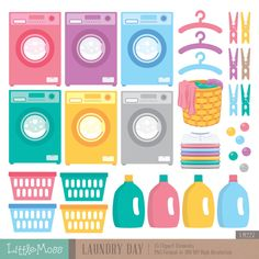 Laundry Day Digital Clipart by LittleMoss on Etsy https://www.etsy.com/listing/241327711/laundry-day-digital-clipart