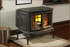 This classically-styled pellet stove is by Lopi. Sold at Rich's for the Home.