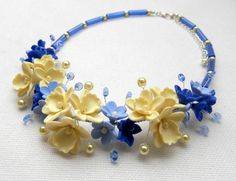 Blue  #Blue #necklace  #Flower necklace  Orchid  by insoujewelry