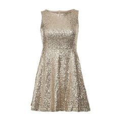 Club L Gold Sequin Skater Dress ❤ liked on Polyvore