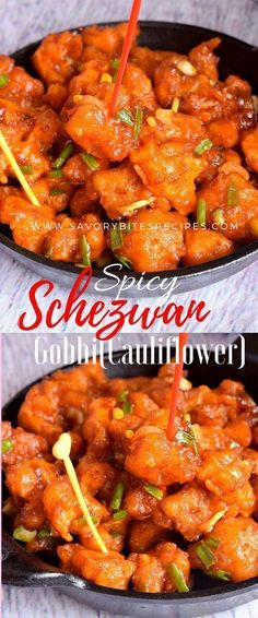 Spicy Gobi Schezwan (Cauliflower in Schezwan Sauce) - Savory Bites Recipes Spicy Recipes, Lunch Recipes, Asian Recipes, Appetizer Recipes, Vegetarian Recipes, Dinner Recipes, Healthy Recipes, Ethnic Recipes, Easy Recipes