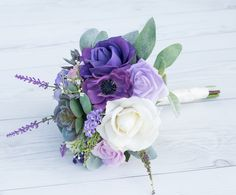 Purple Bouquet, Silk Wedding Bouquet, Rustic Bouquet, Succulent Bouquet, Lavender Sprays, Sola Flower Bouquet, Purple Bouquet, Real Touch