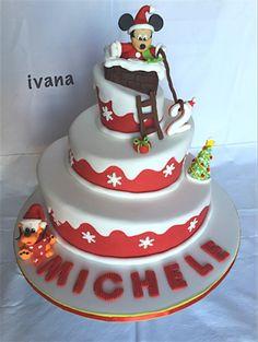 Christmas mickey mouse fondant cake!❤️