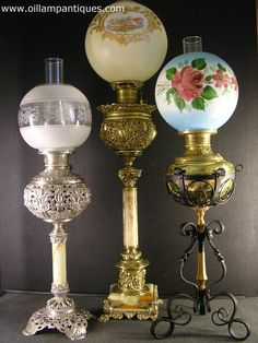 A Selection of Banquet Antique Oil Lamps Kerosene Lamps