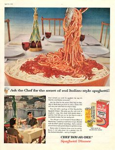 """1956 Chef-Boy-Ar-Dee Spaghetti Dinner Original Food and Drink Print Ad -An original vintage 1956 advertisement, not a reproduction -Measures approximately 10"""" x 13"""" to 11"""" x 14"""" -Ready for matting and"""