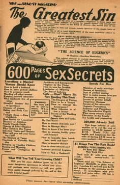 Girls, don't marry before reading this book!  600 pages of sex secrets, with startling illustrations.  (1926)