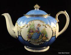 vintage teapots | vintage crinoline lady teapot a gorgeous blue vintage teapot with the ...