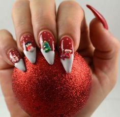 Holiday Christmas Stiletto Nails - Snowy Christmas Scene Nail Design