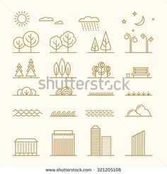 Linear landscape elements vector icons set. Line trees, flowers, bushes, water…