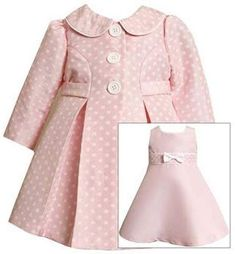 Amazon.com: Bonnie Baby Girls Pink Jacquard Dot Coat & Dress Set, Pink, 24M: Infant And Toddler Dresses: Clothing