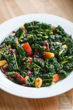 Lacinato Kale Salad with Dried Cranberries, Cashews, Apple + Curried Dressing | vegan miam - MasterCook