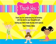 Gymnastics Birthday Party Thank You Card
