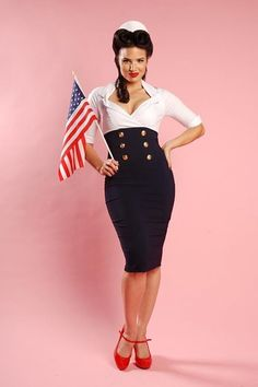 Pinup Couture - Military Secretary Navy White dress