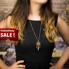 Valentines Day SALE! 10% off on every item at the store!  +FREE fast shipping for every order over 100$ with the coupon code: FREEOVER100    Dream catcher necklace, long necklace, boho necklace, geometric necklace, unique necklace, goldfilled necklace, gift for her, 14K gold.  _________________________________________________________________________________________    Dream catcher necklace, matte gold plated dream catcher with feathers pendant, hangs on 18K gold filled chain. this dream…