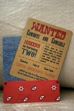 Printable Western Invitation - boy or girl - with photo or without photo. $15.00, via Etsy.