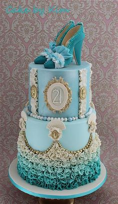 Marie Antoinette inspired cake! Love the color and the ruffled ombré layers.