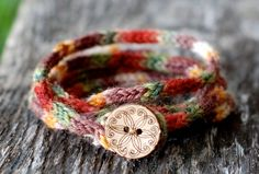 """Rustic Mini I Cord Wrap Bracelet- 20"""" Length - Button Closure - Hand Dyed Wool Yarn --Reserved For Lily--. $25.00, via Etsy."""