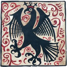 """A royal eagle, originally painted in the 15th century (approximately) as a """"socarrat"""" tile. These tiles were placed between beams in castles, palaces and other large important buildings."""